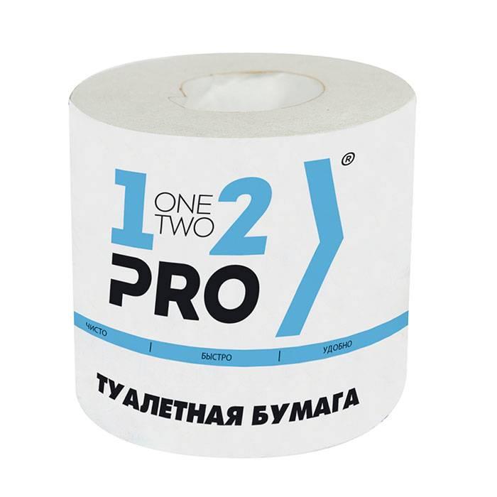 Туалетная бумага, 1-2-PRO, рулон, 1 слойная, 45 м, белый, втор. сырье