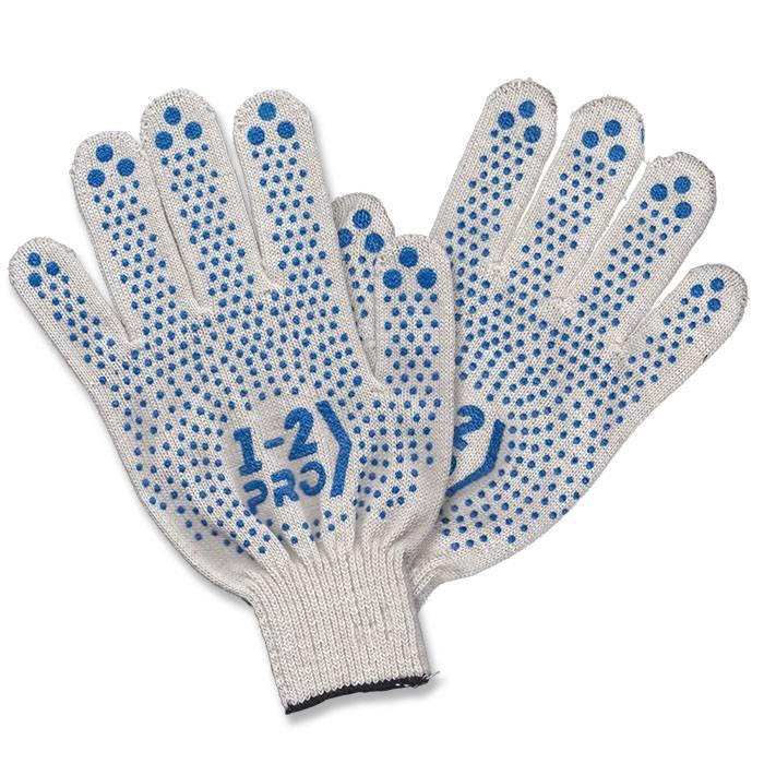 Перчатки трикотажные 1-2-PRO с точечным ПВХ покрытием, 4-х нитка, 10 класс, белые