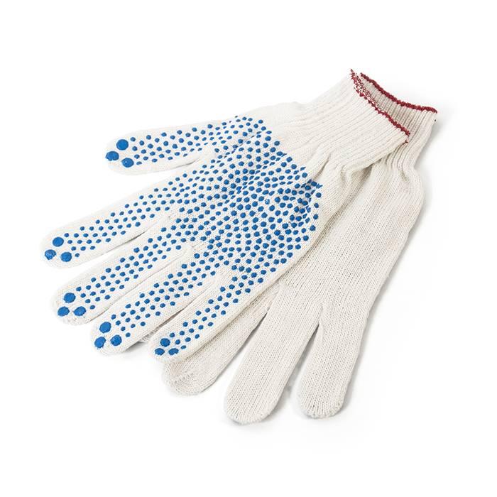 Перчатки трикотажные 1-2-PRO с точечным ПВХ покрытием, 5-ти нитка, 10 класс, белые