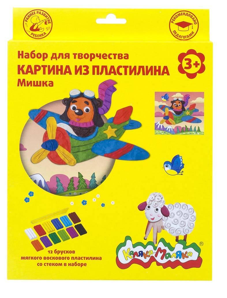 Набор для творчества картина из пластилина МИШКА восковой пластилин 12 цветов