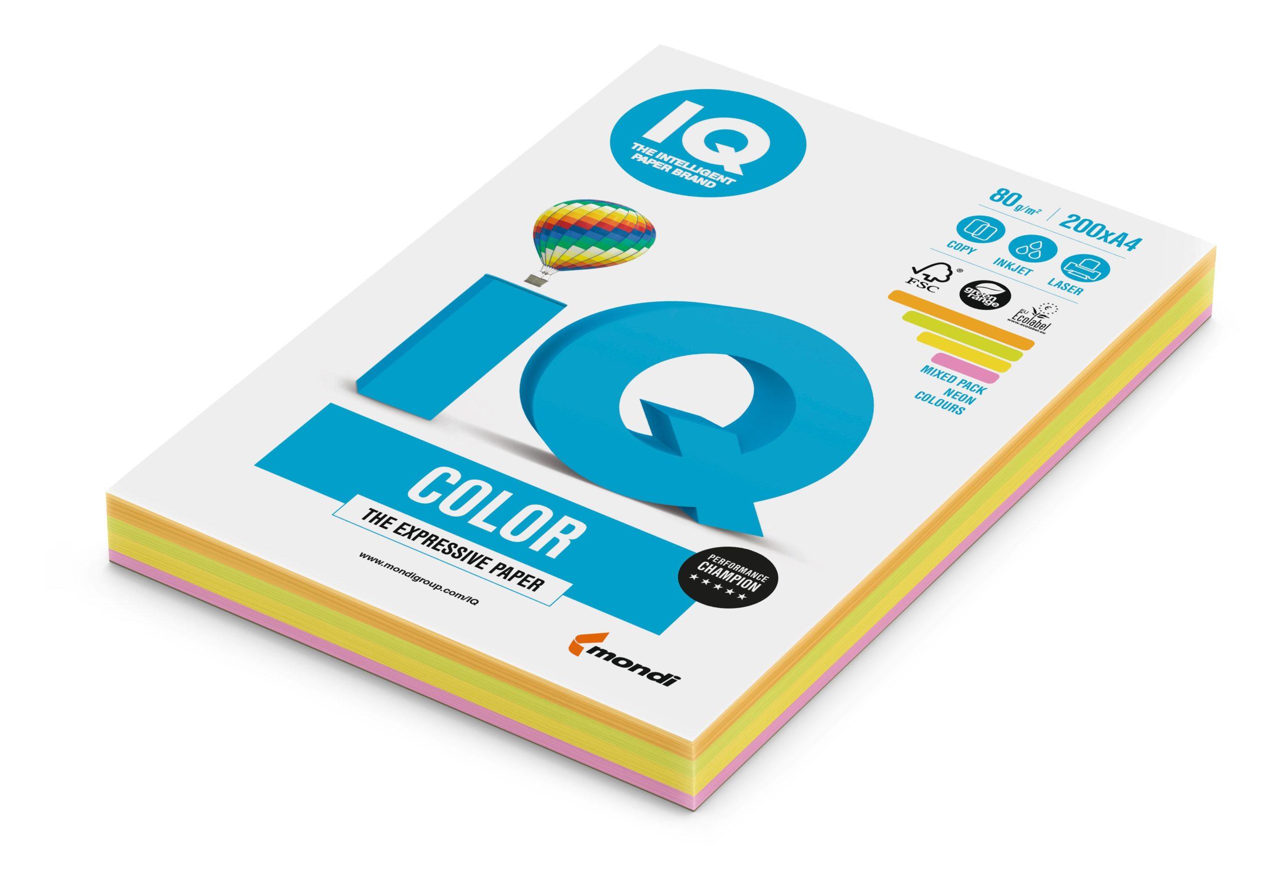 Бумага А4, IQ COLOR MIX, 4 цв., неон, 200 листов, 80 г/м2, ассорти