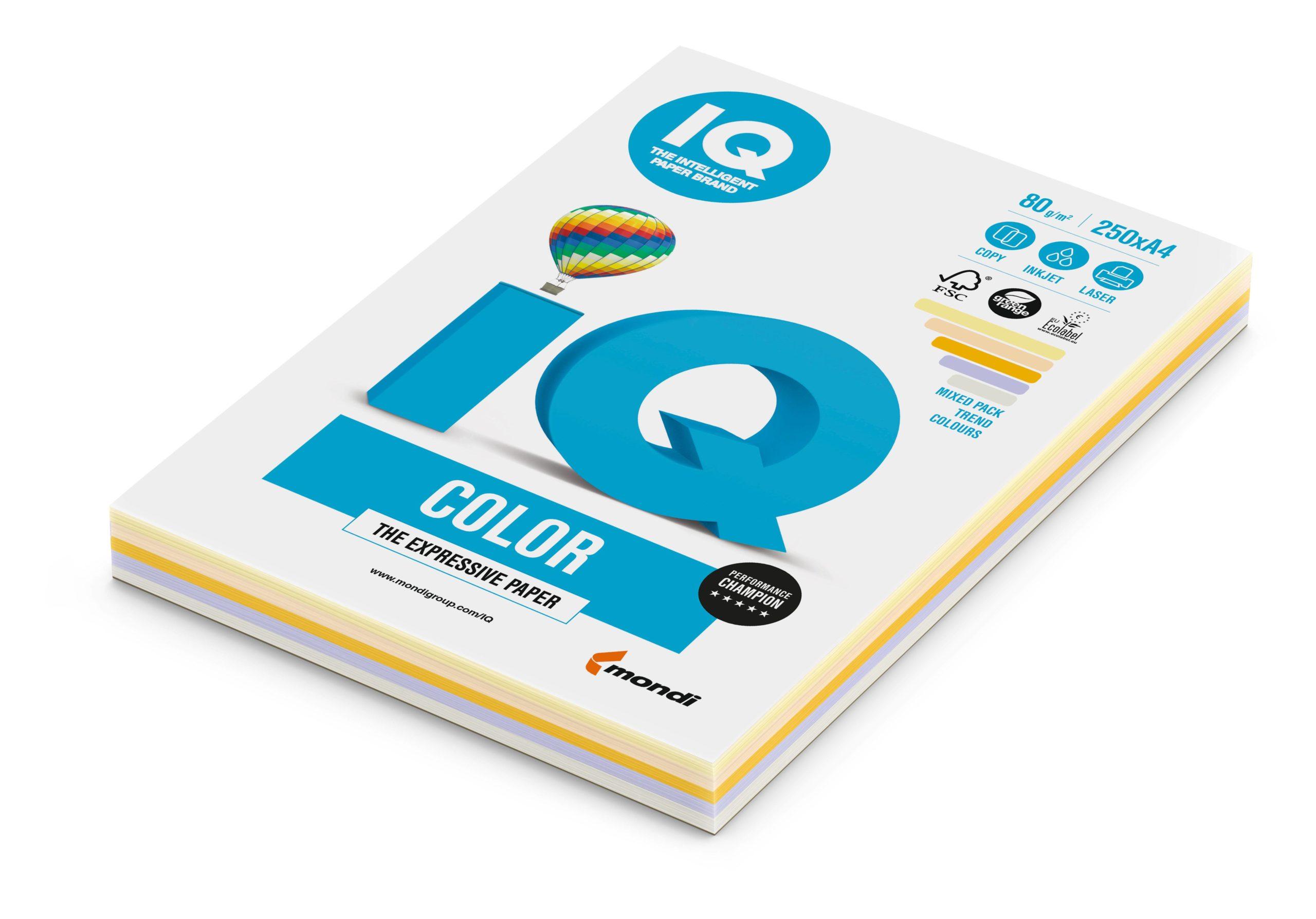 Бумага А4, IQ COLOR MIX, 5 цв., 250 листов, 80 г/м2, тренд