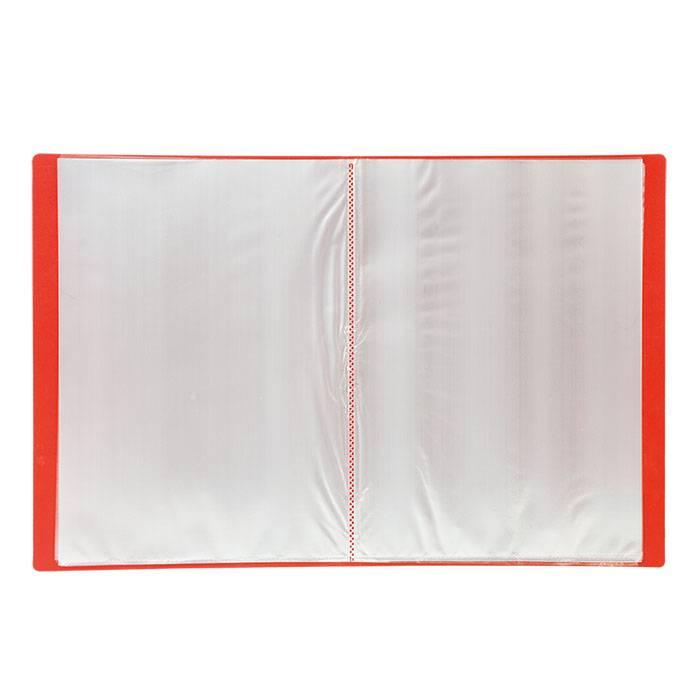 Папка с файлами LITE А4 40 файлов красная пластик 500 мкм