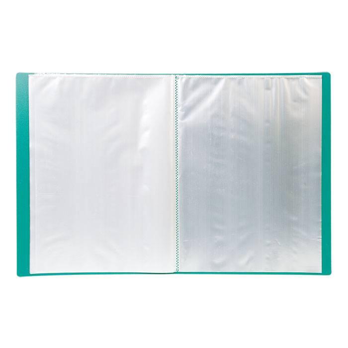 Папка с файлами LITE А4 40 файлов зеленая пластик 500 мкм