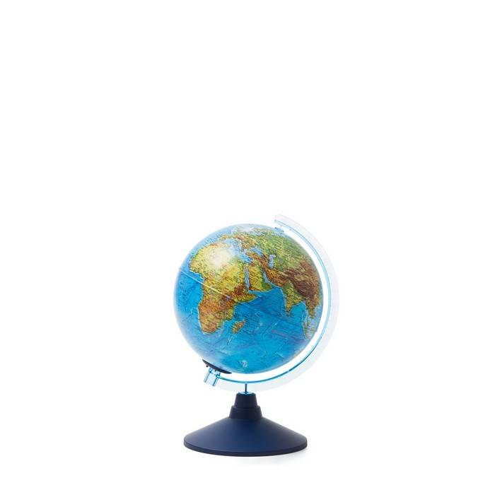 Глобус физико-политический ГЛОБЕН, двойная карта 21 см, голубой, подсветка