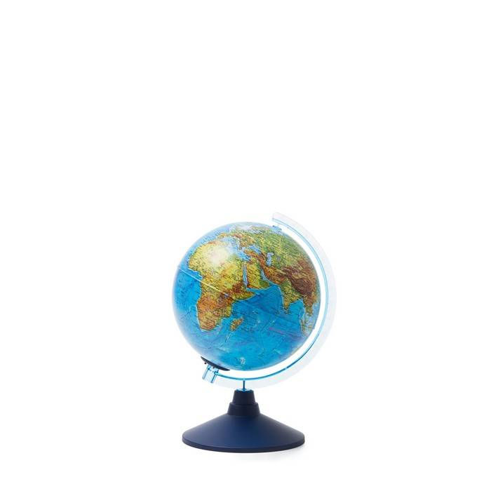 Глобус физико-полит. ГЛОБЕН дв.карта 21 см голуб. подсветка