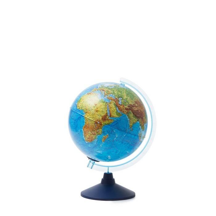 Глобус физико-политический ГЛОБЕН, двойная карта, 25 см, голубой, подсветка
