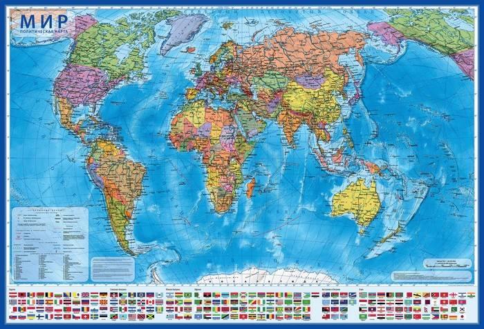 Карта настольная, МИР Политический, 1:55 млн, 59х40 см, капсульная ламинация