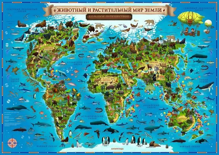 Карта Мира для детей ЖИВОТНЫЙ И РАСТИТЕЛЬНЫЙ МИР ЗЕМЛИ 1:55 млн. 59*42 см (капсульная ламинация)