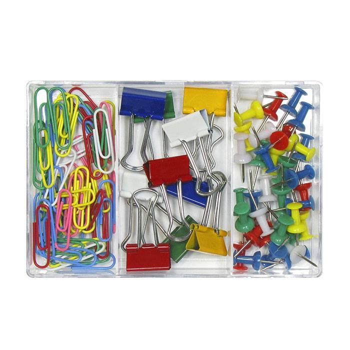 Набор канцелярский ГЛОБУС скрепки 50 шт, зажимы 10 шт, кнопки силовые 40 шт в пластиковой упаковке