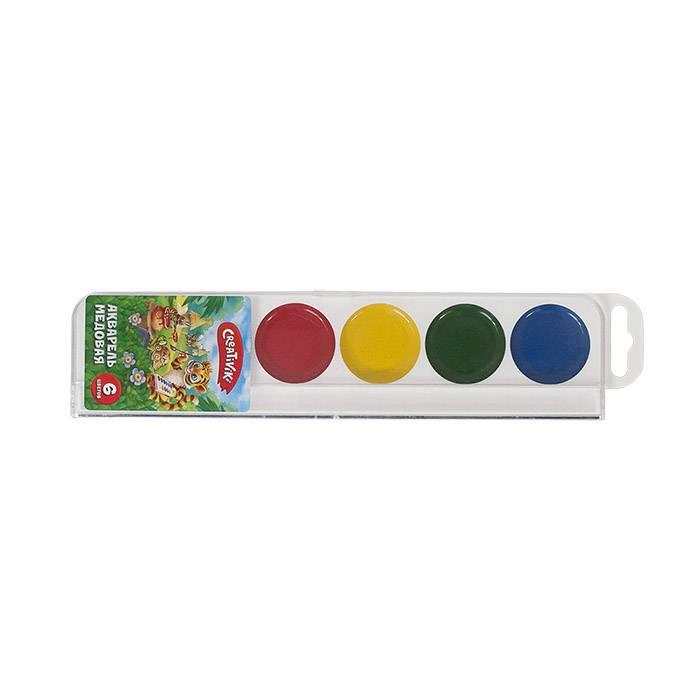 Краски акварельные Creativiki 6 цветов, пластиковая упаковка, без кисти, европодвес