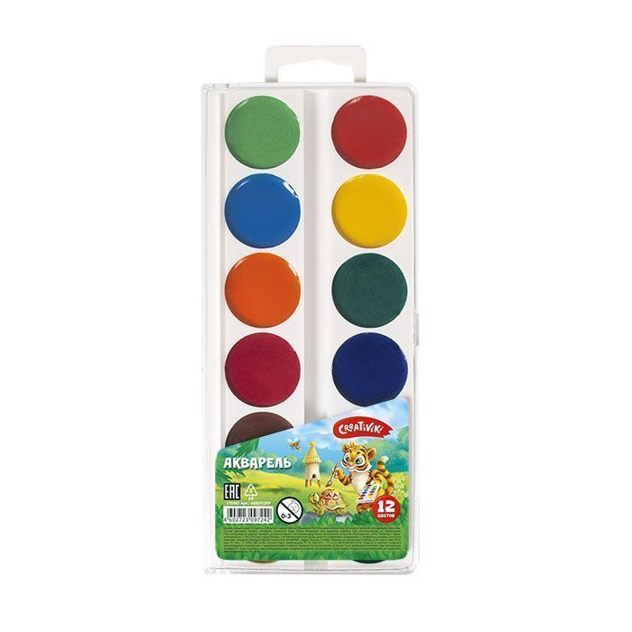 Краски акварельные Creativiki 12 цветов без кисти пластиковая упаковка