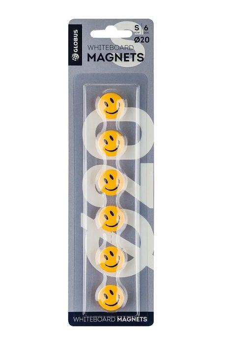 Набор магнитов СМАЙЛИКИ 20 мм 6 шт желтые блистер