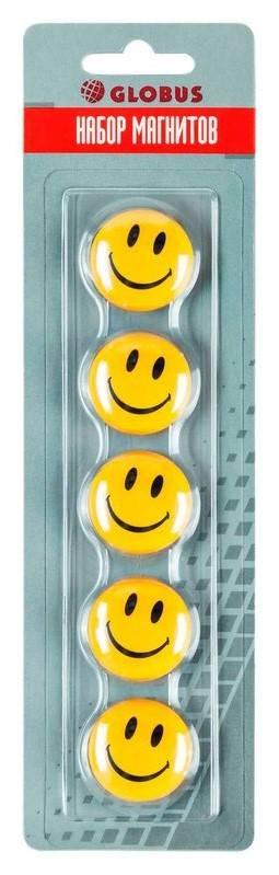 Набор магнитов СМАЙЛИКИ 30 мм 5 шт желтые блистер