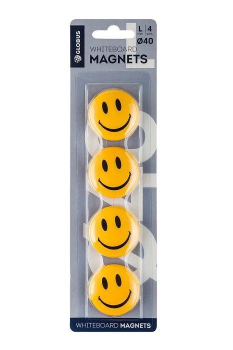 Набор магнитов СМАЙЛИКИ 40 мм 4 шт желтые блистер