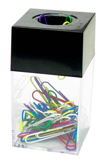 Диспенсер для скрепок ГЛОБУС магнитный пластиковый с цветными скрепками 70 шт 50 мм