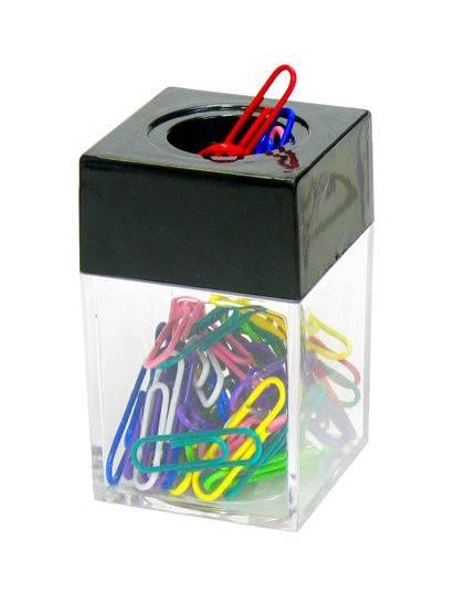 Диспенсер для скрепок ГЛОБУС магнитный пластиковый с цветными скрепками 50 шт 28 мм