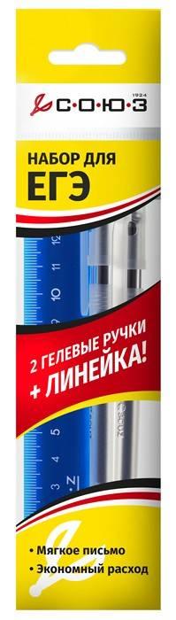 Набор для ЕГЭ из 2-х гелевых ручек STATUS с черной пастой +линейка