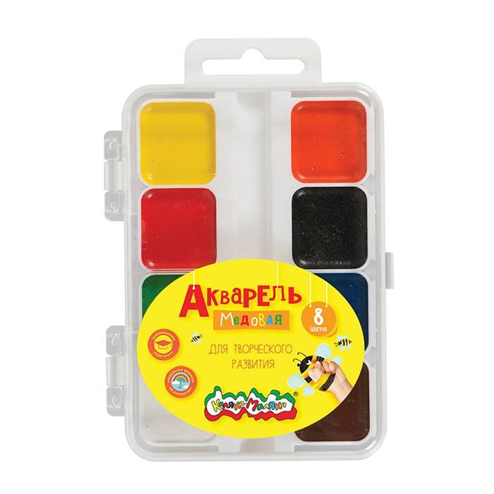 Акварель Каляка-Маляка 8 цветов, квадратный кювет, пластиковая упаковка, без кисти, европодвес