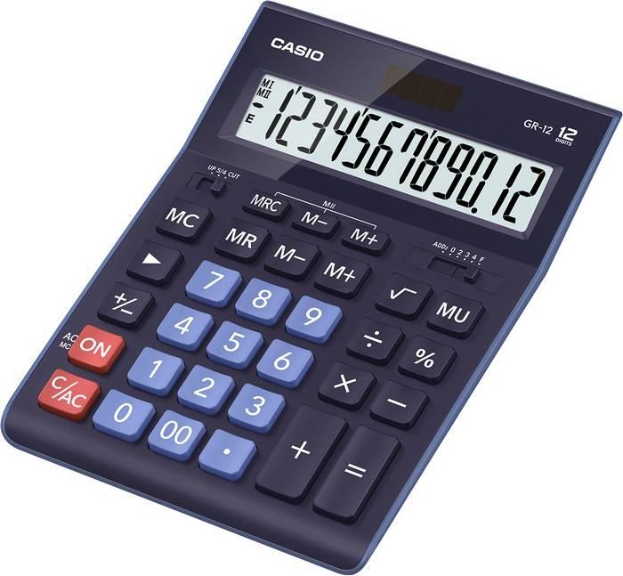Калькулятор CASIO GR-12 BU 12 разр. синий бухгалтерский