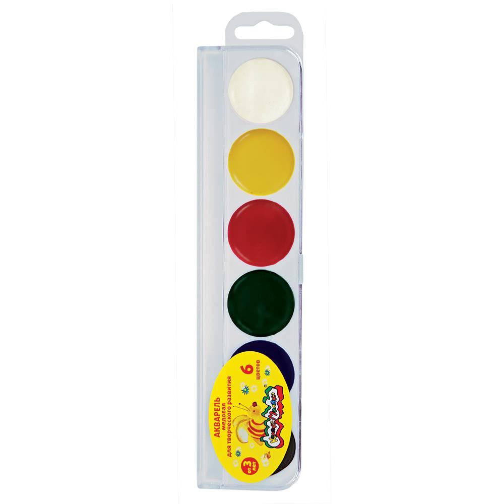 Акварель Каляка-Маляка, 6 цветов, круглый кювет, пластиковая упаковка, без кисти, европодвес