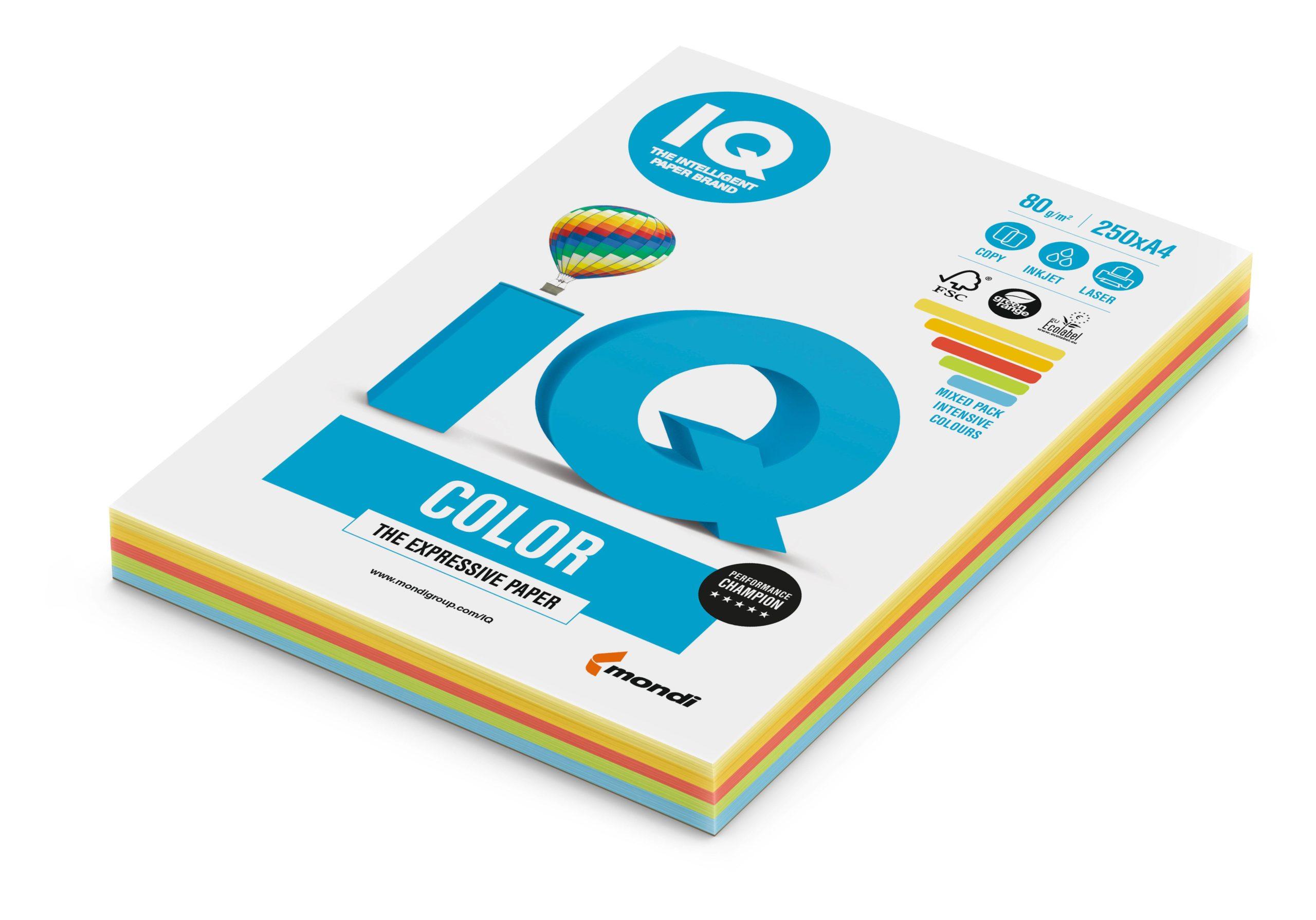 Бумага, А4, IQ COLOR MIX, 5цветов, 250 листов, 80 г/м2, интенсив