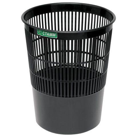 Корзина для бумаг СТАММ 14 л сетчатая, черный пластик