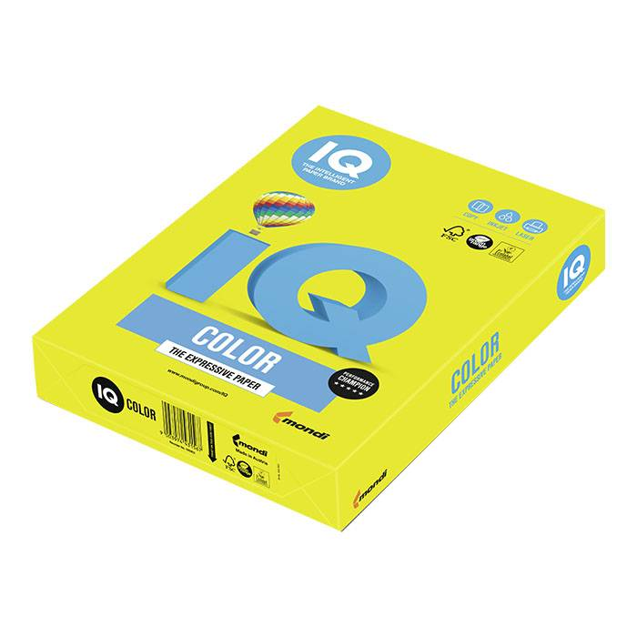 Бумага цветная IQ COLOR неон желтая (80 г/м2, А4, 500 л.)