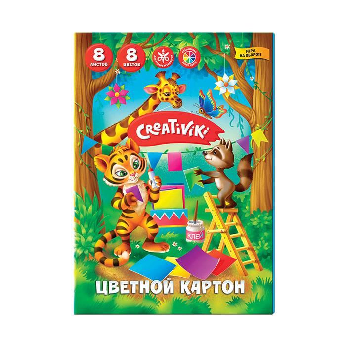 Картон цветной немелованный Creativiki А5, 8 цветов 8 листов, 190 г/м2