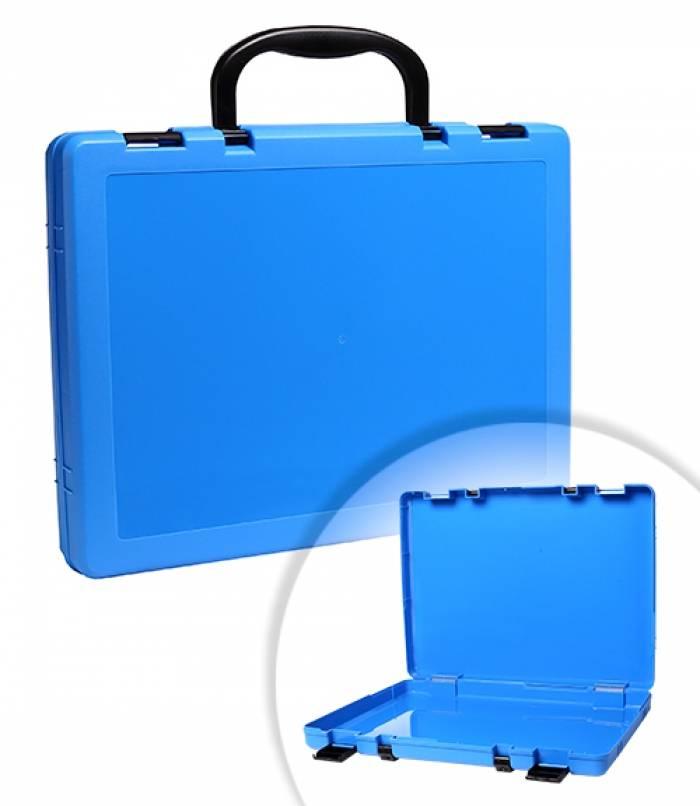 Портфель, СТАММ, 1 отделение, 75х375х280 мм, 2 замка, 2 ручки, пластик, голубой