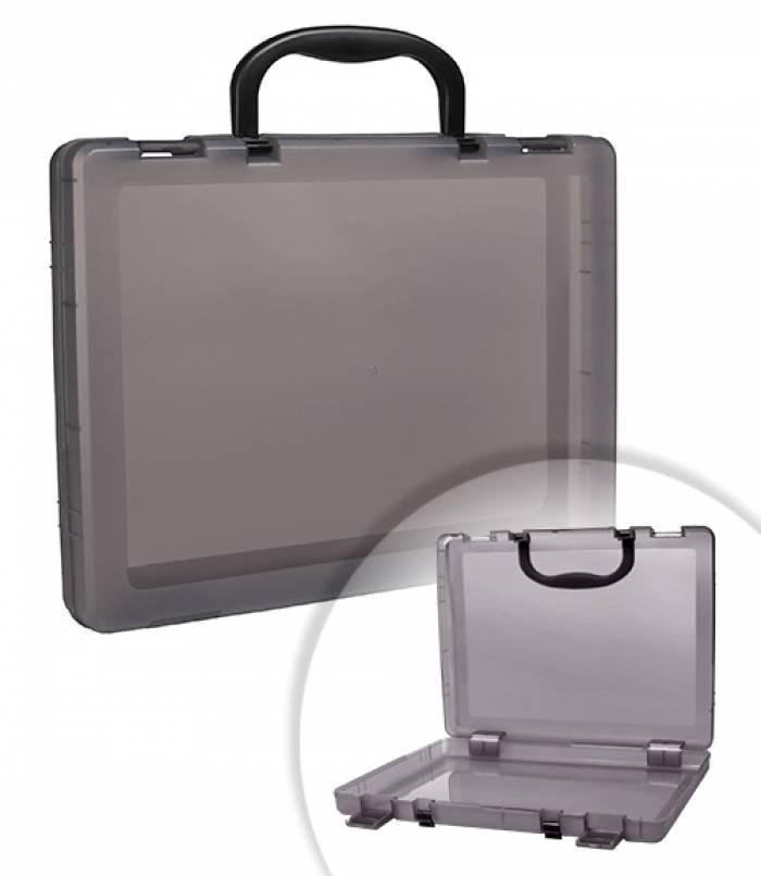 Портфель, СТАММ, 1 отделение, 75х375х280 мм, 2 замка, 2 ручки, пластик, тонированный, серый