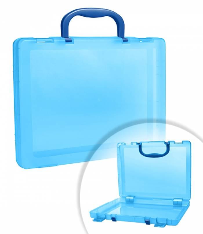 Портфель СТАММ 1 отделение, 75х375х280 мм, 2 замка, 2 ручки, пластик, тонированный, голубой