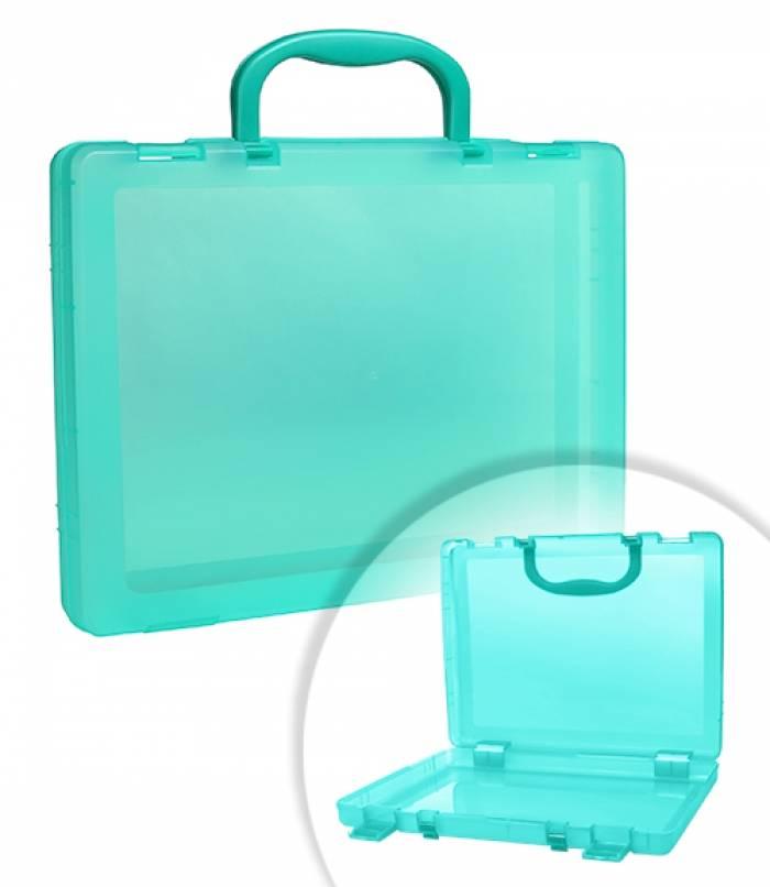 Портфель СТАММ 1 отделение, 75х375х280 мм, 2 замка, 2 ручки, пластик, тонированный, зеленый