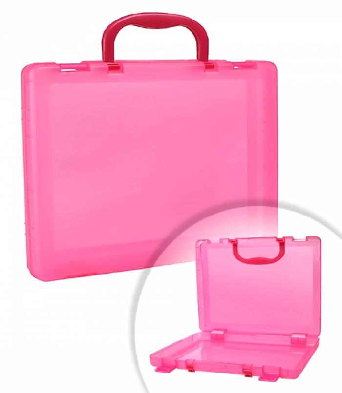 Портфель СТАММ 1 отделение, 75х375х280 мм, 2 замка, 2 ручки, пластик, тонированный, розовый