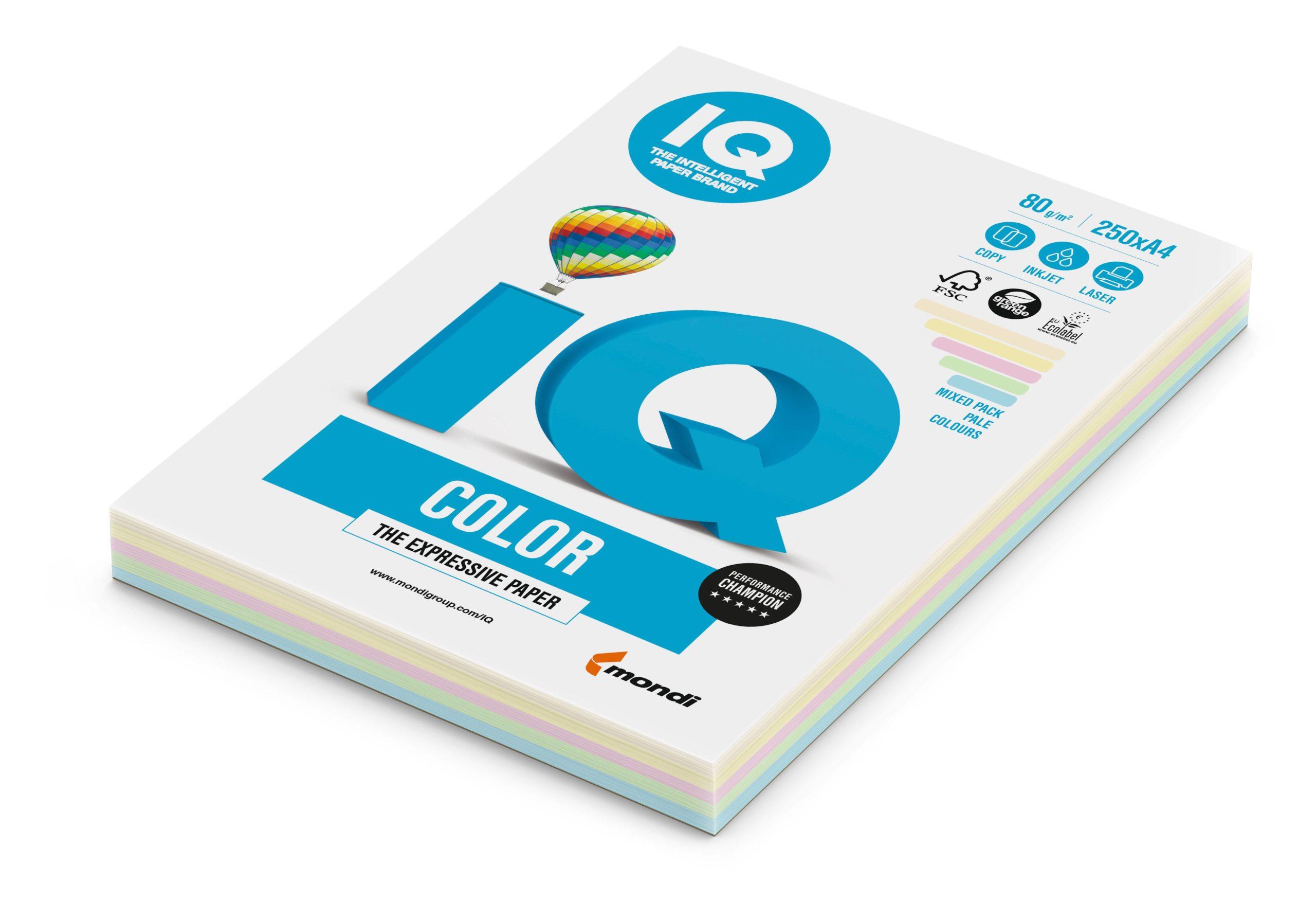 Бумага, А4, IQ COLOR MIX 5цветов, 250 листов, 80 г/м2, пастель
