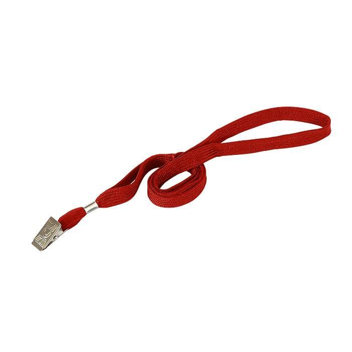 Лента для бейджей LITE с металлической клипсой 45 см, красная