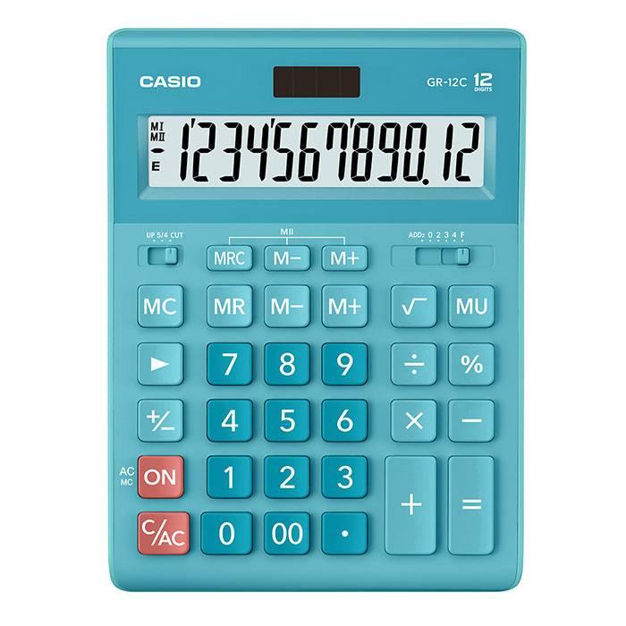 Калькулятор CASIO GR-12 12 разрядный голубой бухгалтерский