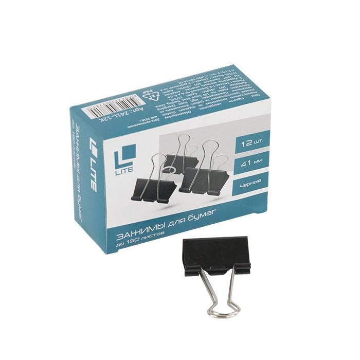 Зажим LITE 41 мм металл черный 12 шт/упак