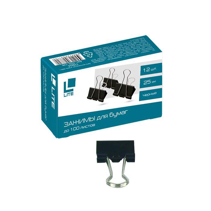 Зажим LITE 25 мм металл черный 12 шт/упак