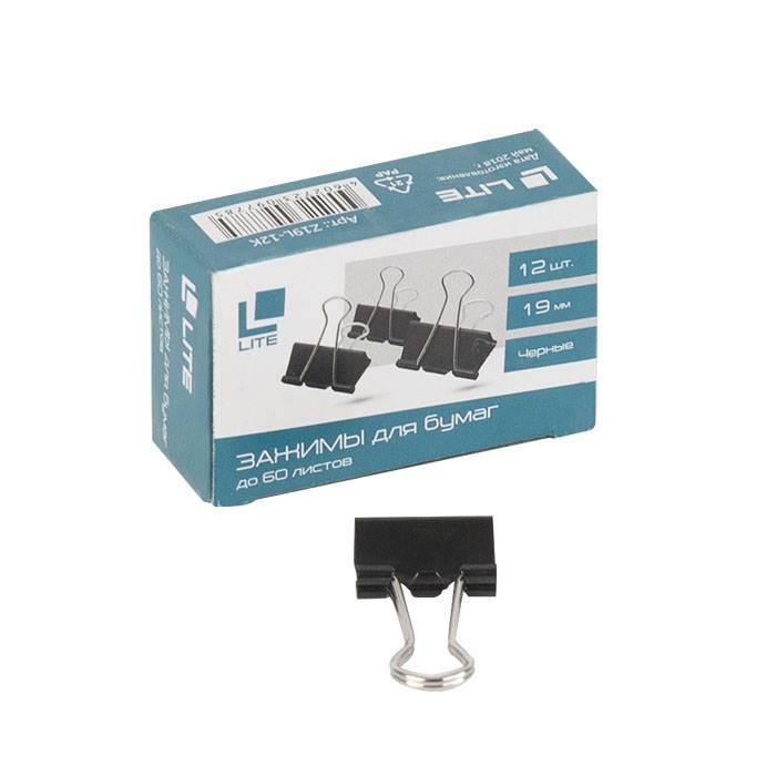 Зажим LITE 19 мм металл черный 12 шт/упак