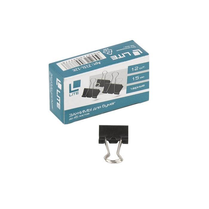 Зажим LITE 15 мм металл черный 12 шт/упак