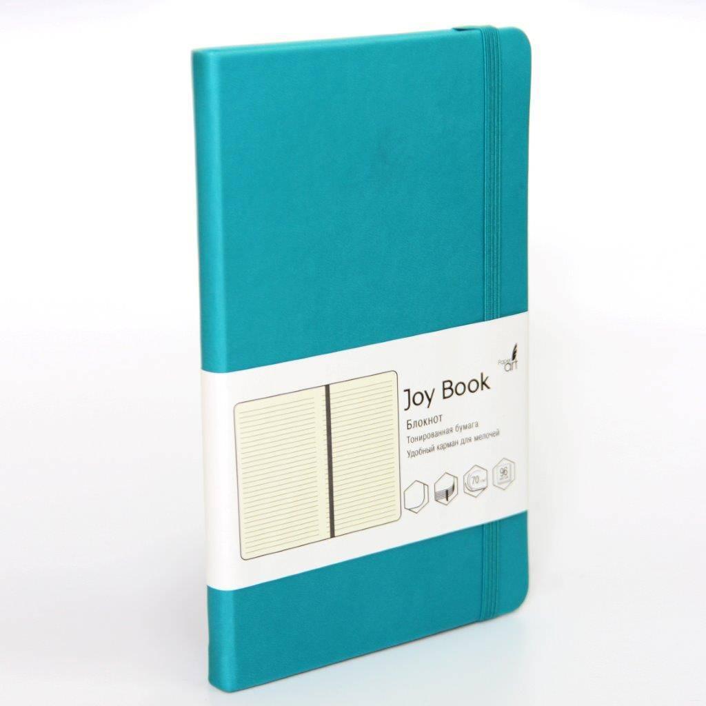 Бизнес-блокнот, А6-, 96 л., линия, JOY BOOK БИРЮЗОВЫЙ 7БЦ, кожзам, 70 г/м2, ляссе