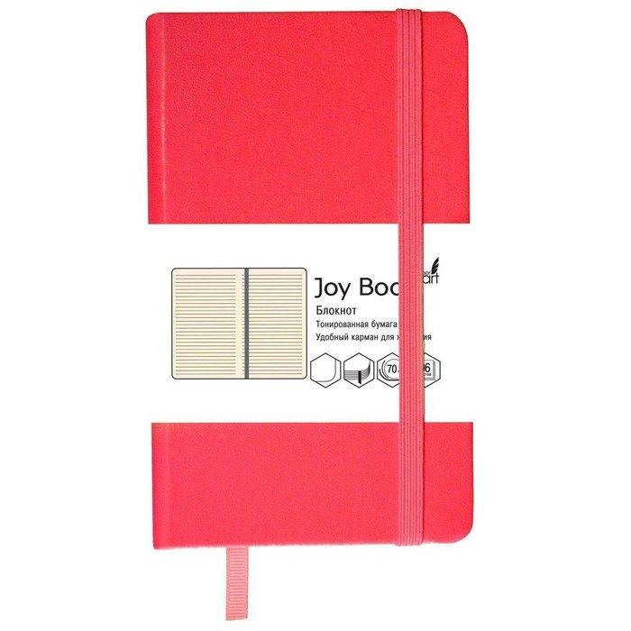 Бизнес-блокнот, А6-, 96 л., линия, JOY BOOK ТЕМНО-АЛЫЙ 7БЦ, кожзам, 70 г/м2, ляссе