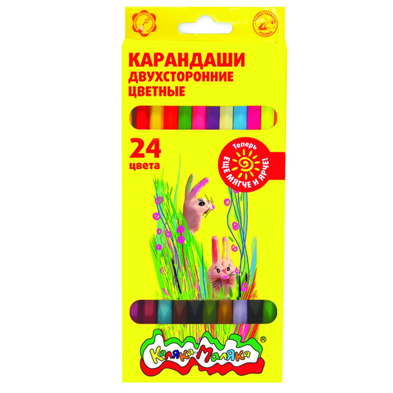 Набор цветных карандашей Каляка-Маляка двухсторонние 12 штук, 24 цвета, шестигранные