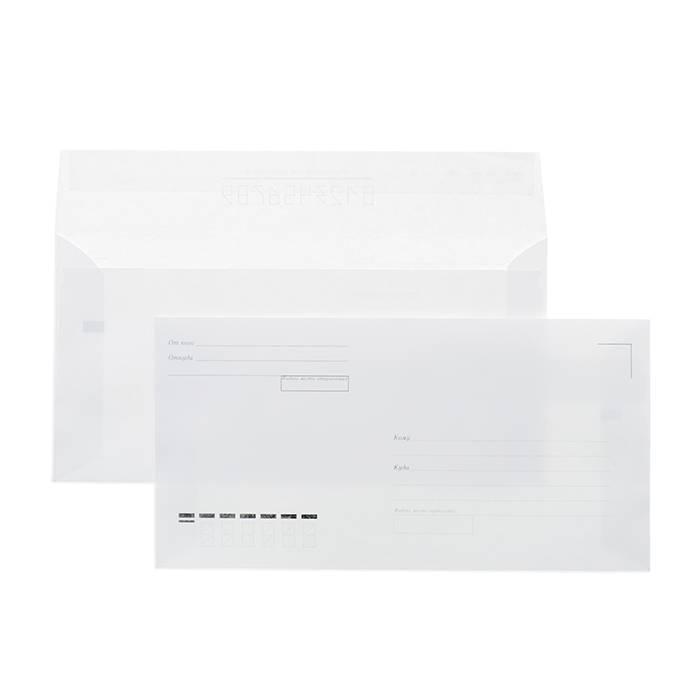 Конверт почт. оф. Е65 110×220 стрип «куда-кому» 80 г/м2 белый плоск.евробумага 100% белизна 100 шт/упак.