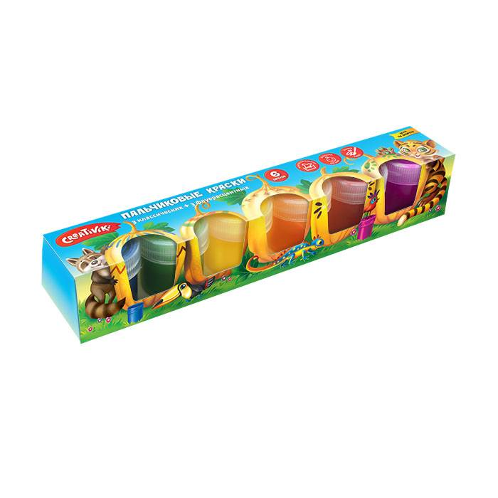 Краски пальчиковые, Creativiki, 40 мл, 6 цветов, 3+