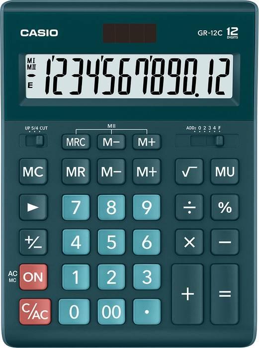 Калькулятор CASIO GR-12, 12 разрядный, бухгалтерский, темно-зеленый