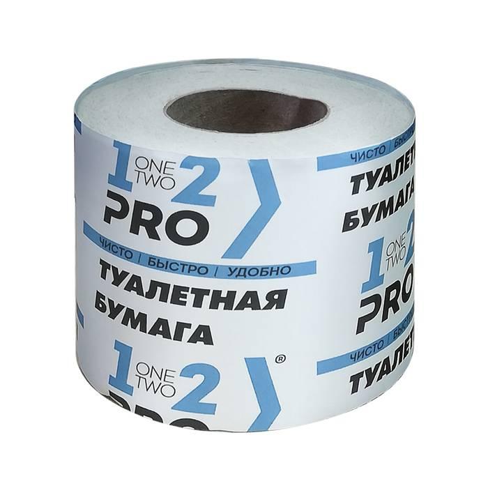 Туалетная бумага в рулоне 1 сл. 1-2-PRO 38 м вторичное сырье