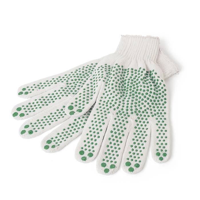 Перчатки трикотажные 1-2-PRO с точечным ПВХ покрытием, 3-х нитка, белые, 7 класс