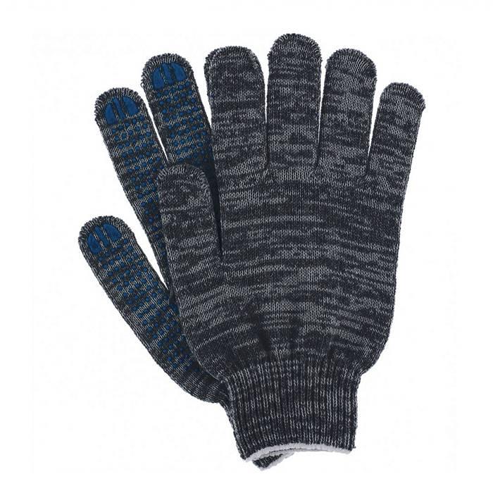 Перчатки трикотажные 1-2-PRO с точечным ПВХ покрытием, 4-х нитка, графит, 10 класс